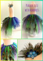 Peacock tutu tulle skirt head set girls dress up cake smash photos fancy dress